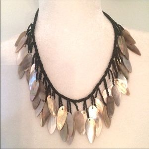 Vintage Shell Black Glass Bead Statement Necklace